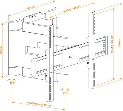 Кронштейн для телевизора Holder LEDS-7026 Black - схематическое изображение