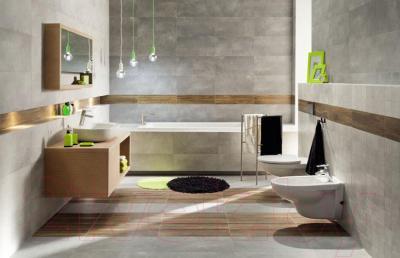 Плитка для стен ванной Tubadzin Minimal Szara STR (448x223)