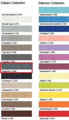Фуга для плитки Litokol Litochrom Starlike C.480 (5кг, серебристо-серый) - палитра цветов