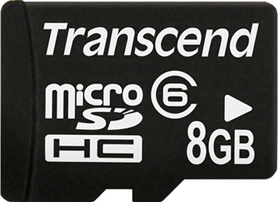 Карта памяти Transcend microSDHC (Class 6) 8 Gb + SD адаптер (TS8GUSDHC6) - общий вид