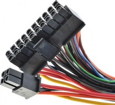 Блок питания для компьютера FSP 350-60APN - разъемы (мат. плата 20+4 pin)
