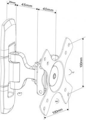 Кронштейн для телевизора Arm Media COBRA-100 Black - схематическое изображение
