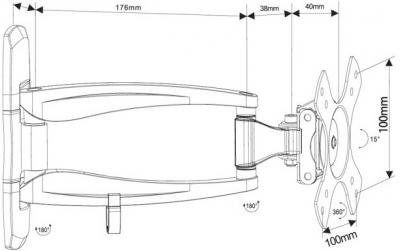 Кронштейн для телевизора Arm Media COBRA-101 Black - схематическое изображение
