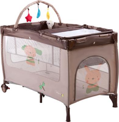 Кровать-манеж KinderKraft Jolly KKJBRAZ (коричневый) - общий вид