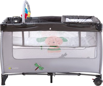 Кровать-манеж KinderKraft Jolly KKJBGR (серый) - общий вид