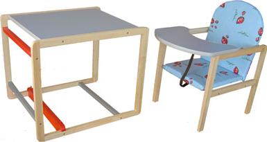 Стульчик для кормления Апельсиновая зебра Непоседа-4 Комфорт (голубой) - стол+стул