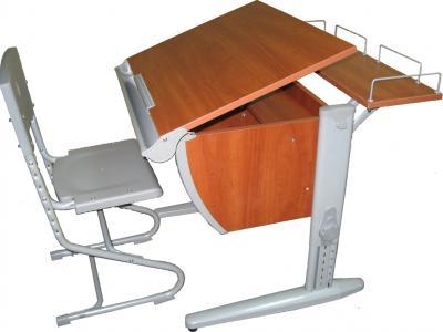 Парта+стул Дэми СУТ 14-01 (серый, яблоня) - общий вид