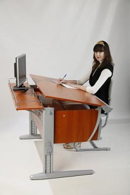 Парта+стул Дэми СУТ 14-02 (серый, яблоко) - общий вид