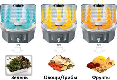 Сушка для овощей и фруктов Tefal Fruit Air (DF100830) - режимы работы