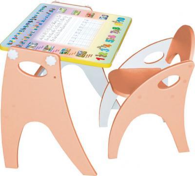 Парта-мольберт+стул Интехпроект Буквы-цифры 14-312 (персиковый) - общий вид