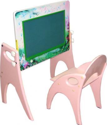 Парта-мольберт+стул Интехпроект Буквы-цифры 14-312 (персиковый) - общий вид - мольберт