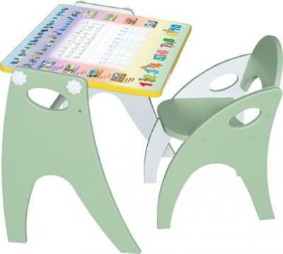 Парта-мольберт+стул Интехпроект Буквы-цифры 14-314 (салатовый) - общий вид