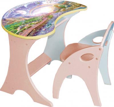Стол+стул Интехпроект Капелька Космошкола 14-302 (персиковый) - общий вид