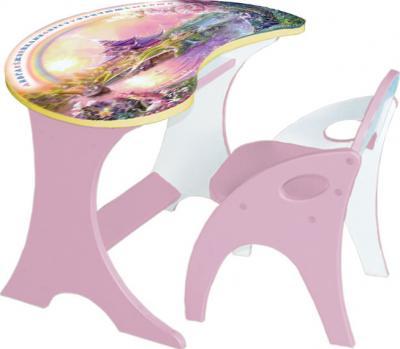 Стол+стул Интехпроект Капелька Волшебный остров 14-306 (розовый) - общий вид