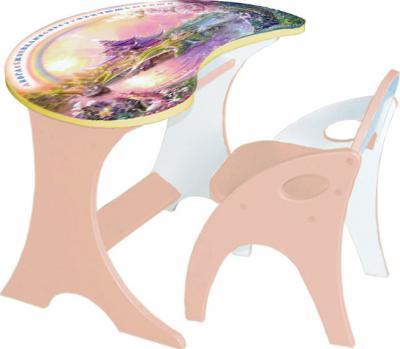 Стол+стул Интехпроект Капелька Волшебный остров 14-307 (персиковый) - общий вид