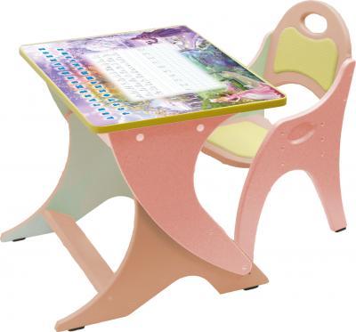 Стол+стул Интехпроект Зима-лето 14-324 (персиковый и розовый) - общий вид