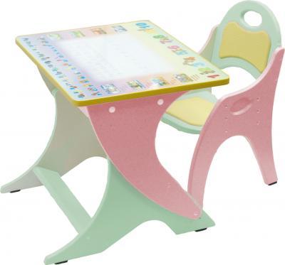 Стол+стул Интехпроект Буквы-цифры 14-331 (фисташковый и розовый) - общий вид