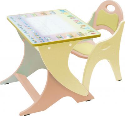 Стол+стул Интехпроект Буквы-цифры 14-333 (персиковый и желтый) - общий вид