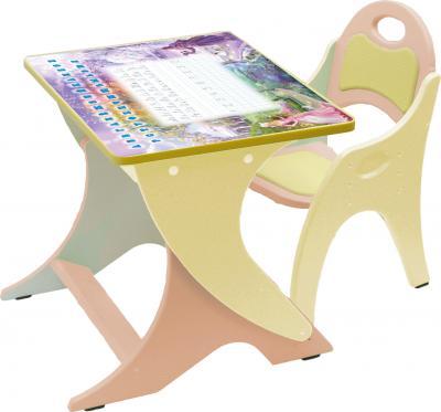 Стол+стул Интехпроект Зима-лето 14-334 (персиковый и желтый) - общий вид