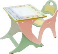 Стол+стул Интехпроект Буквы-цифры 14-335 (салатовый и персиковый) -