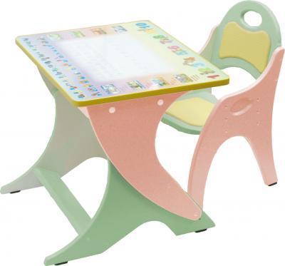 Стол+стул Интехпроект Буквы-цифры 14-335 (салатовый и персиковый) - общий вид