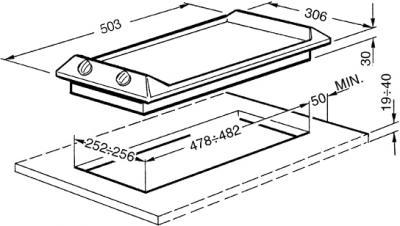 Газовая варочная панель Smeg SRV531X5 - схема встраивания