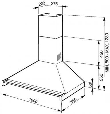 Вытяжка купольная Smeg KD100N-2 - схема