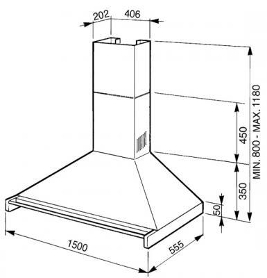 Вытяжка купольная Smeg KD150X-2 - схема