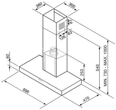 Вытяжка Т-образная Smeg KSE951X2 - схема