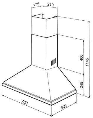 Вытяжка купольная Smeg KSED72X - схема