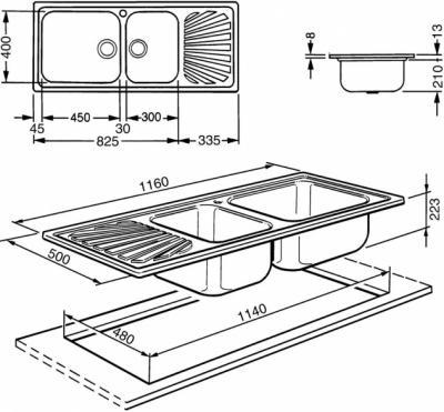 Мойка кухонная Smeg LGMR116 - схема