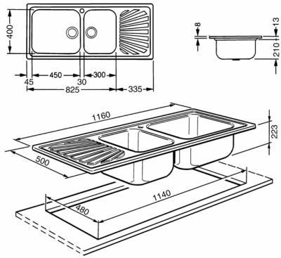 Мойка кухонная Smeg LGR116 - схематическое изображение