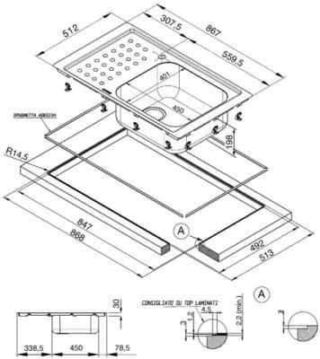 Мойка кухонная Smeg LV95F1D-2 - схема