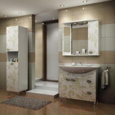 Шкаф-пенал для ванной Ванланд Аркадия Арп-2 (оливковый, левый)