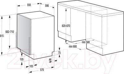 Посудомоечная машина Gorenje GV64311 - схема встраивания