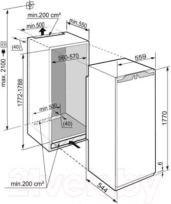 Холодильник с морозильником Liebherr IK 3514 Comfort - схема встраивания