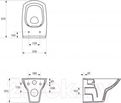 Унитаз подвесной Cersanit Carina Clean On K31-032
