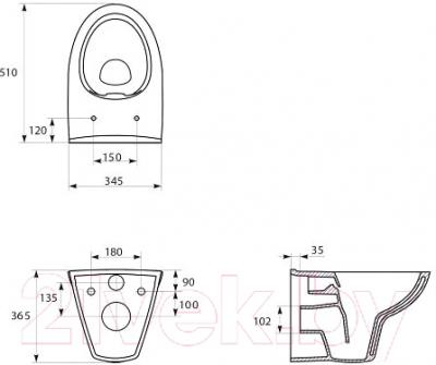 Унитаз подвесной Cersanit Parva Clean K27-041 - схема