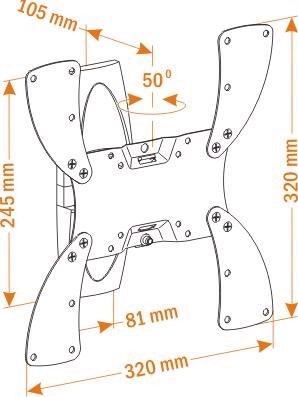 Кронштейн для телевизора Holder LCDS-5019 (черный глянец) - схематическое изображение