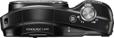 Компактный фотоаппарат Nikon COOLPIX L610 Black - вид сверху