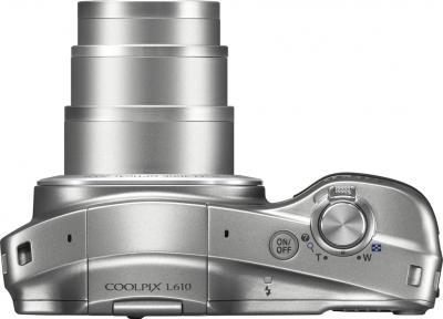 Компактный фотоаппарат Nikon COOLPIX L610 Silver - вид сверху