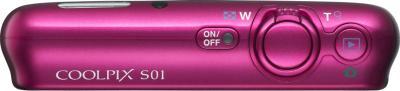 Компактный фотоаппарат Nikon Coolpix S01 Pink - вид сверху