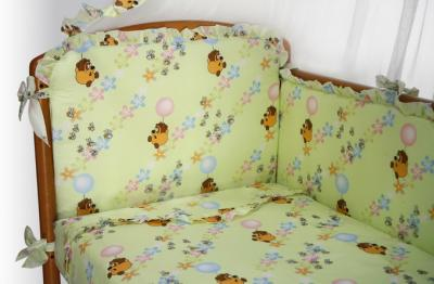 Комплект в кроватку Perina Роза Р7-02.1 (Винни салатовый) - общий вид