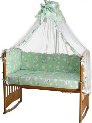 Комплект в кроватку Perina Роза Р7-01.1 (Зайки салатовый) - общий вид