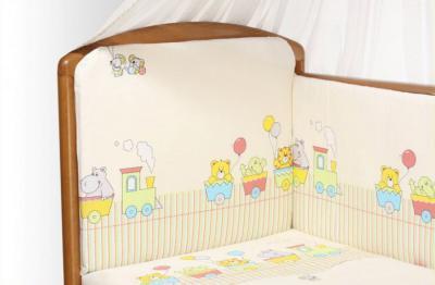 Комплект в кроватку Perina Аманда А6-01.2 (Веселый поезд бежевый) - общий вид