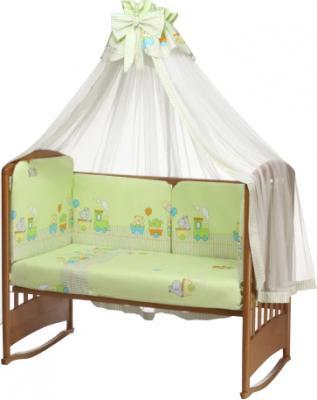 Комплект в кроватку Perina Аманда А6-01.1 (Веселый поезд салатовый) - балдахин в комплект не входит