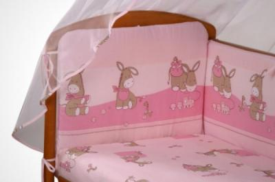 Комплект в кроватку Perina Ева Е7-02.3 (Ослики розовый) - общий вид