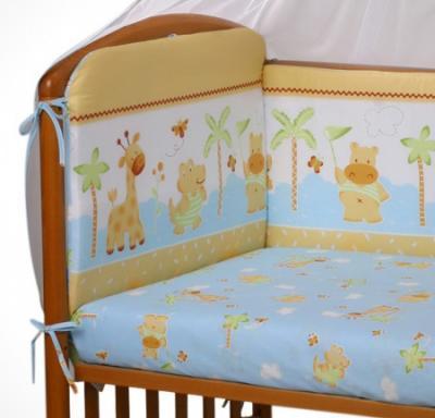 Комплект в кроватку Perina Ева Е6-03.4 (Бегемотики голубой) - общий вид