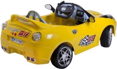 Детский автомобиль KinderKraft ChuChu Ferrari Yellow - полубоком