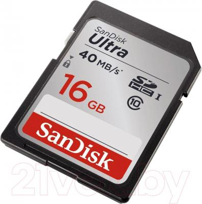 Карта памяти SanDisk Ultra SDHC Class 10 16GB (SDSDUN-016G-G46)